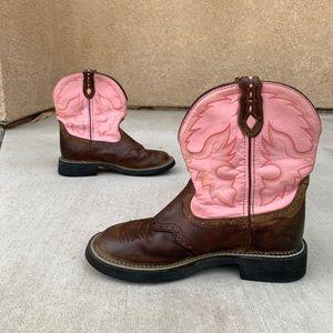 Womens 9B/M Justin Gemma Pink Brown Boots